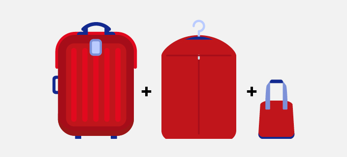 Carry on baggage allowance illustration - one suitcases, one garment bag plus handbag