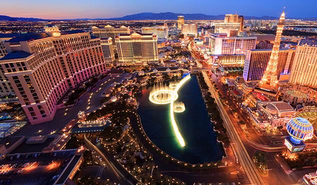 Sunset cityscape view, Las Vegas