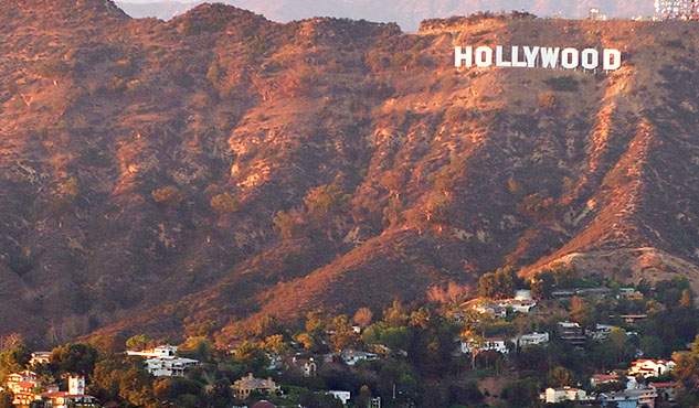 Aerial view of Hollywood sign
